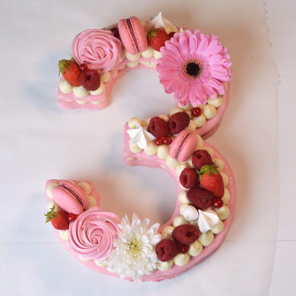 number cake framboise