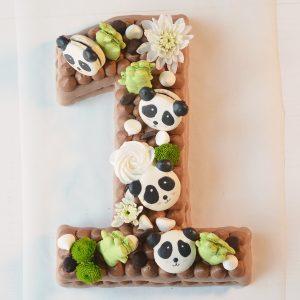 Number cake chocolat - Thème pandas